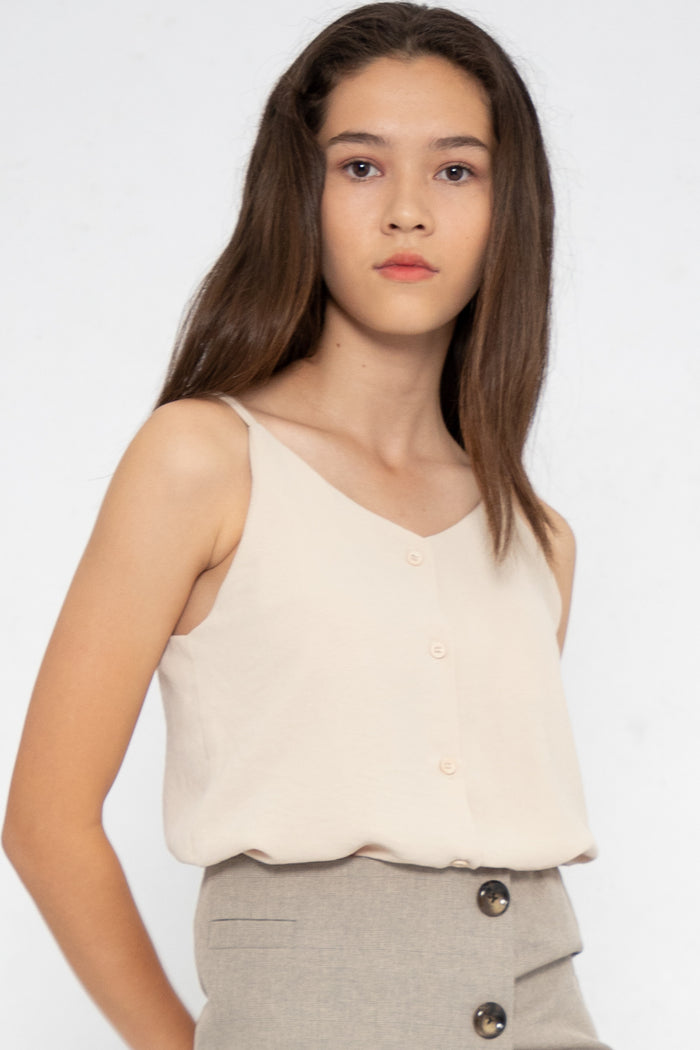 Nellie Button Down Cami Top in Almond - Three One Duo