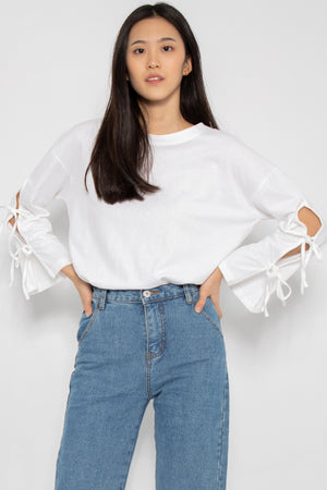 Leia Ribbon Long Sleeve Top in White - Three One Duo