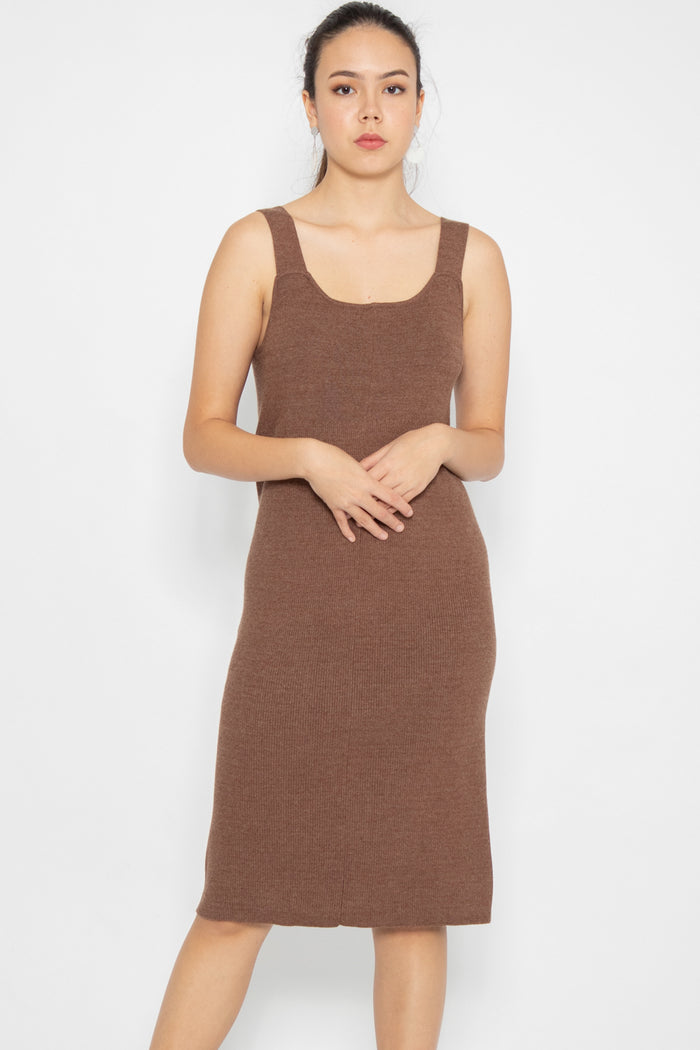Madison Basic Knit Midi Dress in Camel - Three One Duo