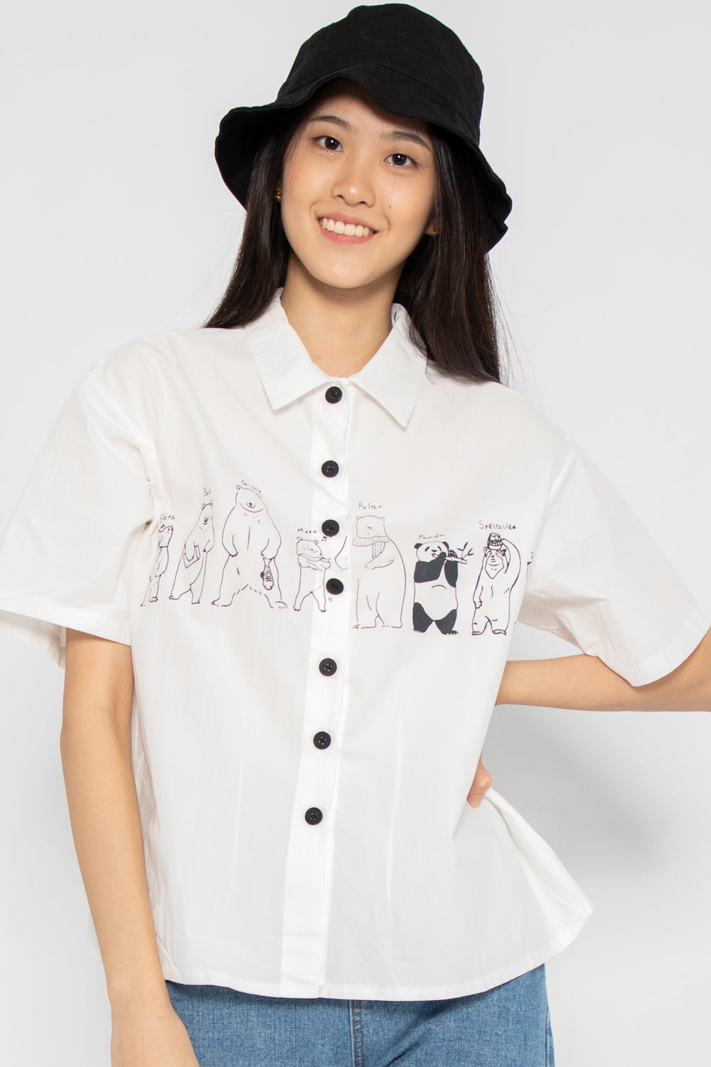 Beary Friendly Button Up Blouse in White - Three One Duo