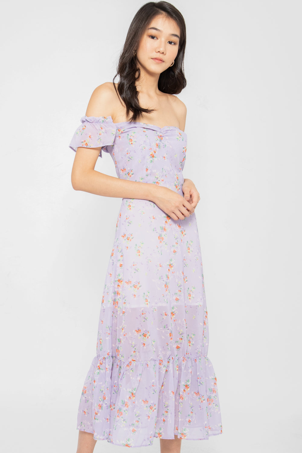 Valentina Floral Off-Shoulder Dress in Lilac - Three One Duo