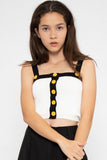 Marley Button Colorblock Spag Top in White - Three One Duo