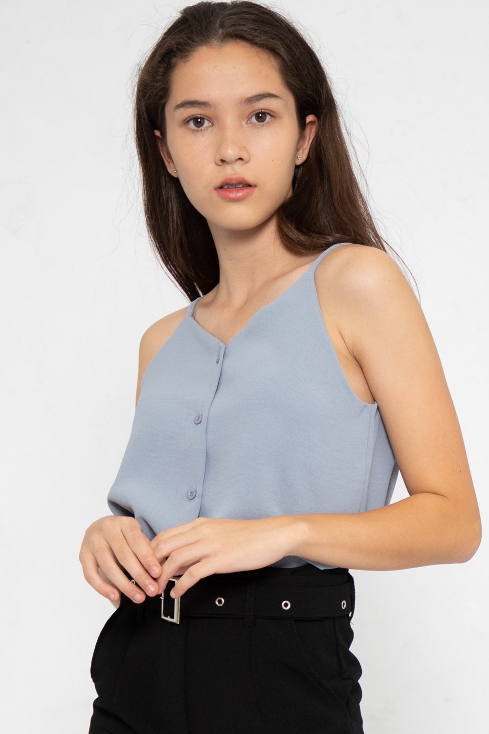 Nellie Button Down Cami Top in Slate Blue - Three One Duo