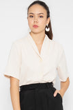 Taylor V Neck Button Blouse in Almond - Three One Duo