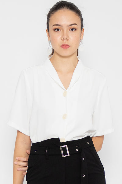 Taylor V Neck Button Blouse
