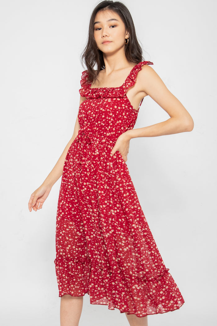 Camille Floral Ruffle Midi Dress - Three One Duo