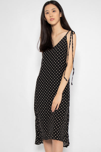 Sophia Polka Dot Tie Midi Dress