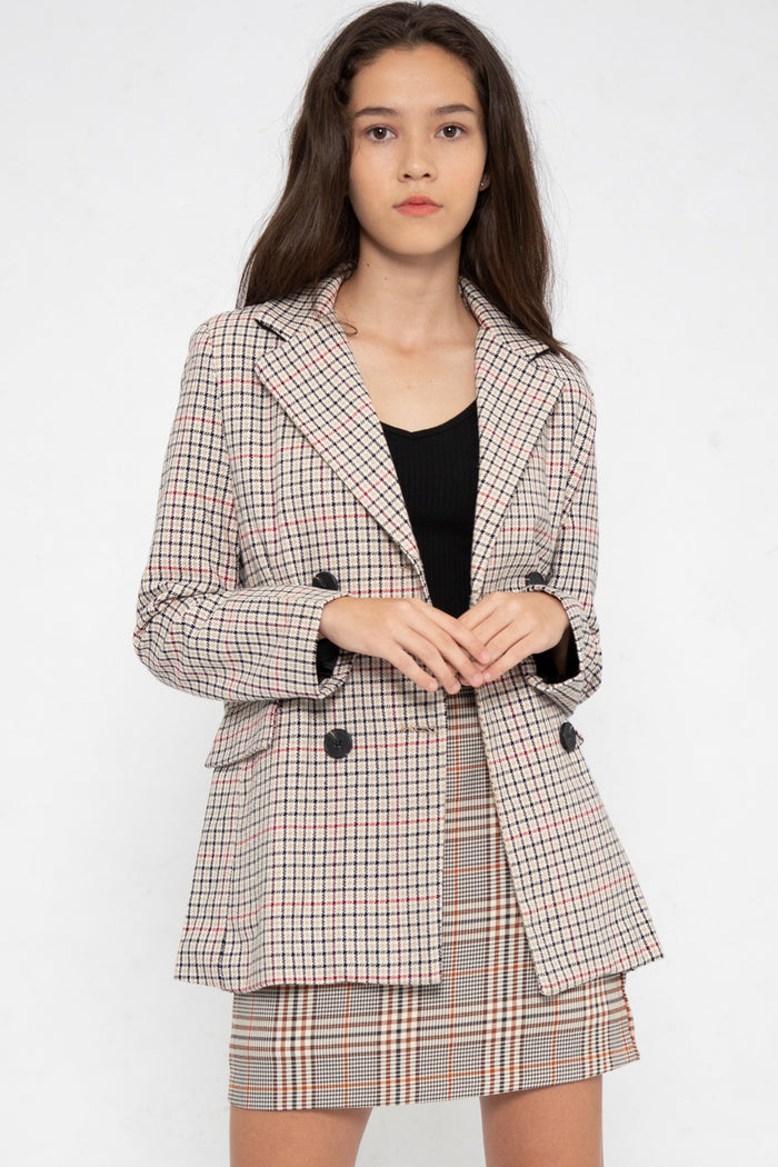 Brynn Checkered Blazer in Multi - Three One Duo