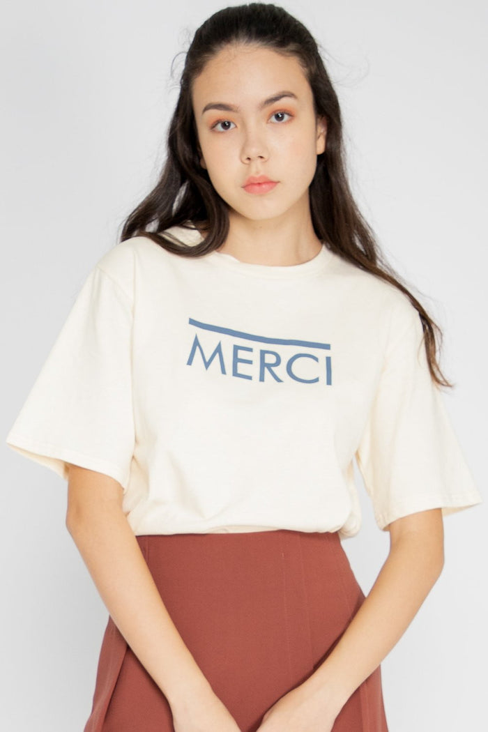 *Restocked* Merci Graphic Tee in Cream - Three One Duo