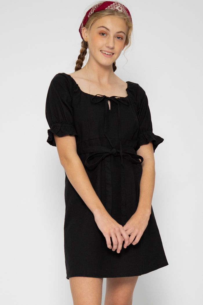 Zoelle Ruffle Sleeve Dress in Black - Three One Duo
