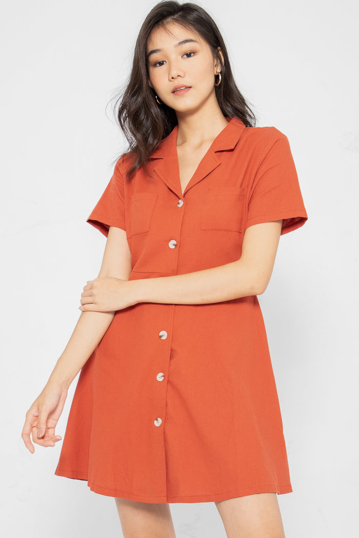 Maisie Button Down Collared Dress - Three One Duo