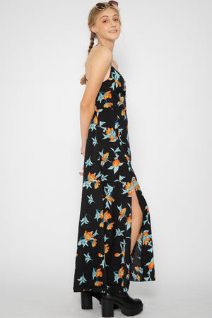 Camila High Slit Summer Maxi Dress in Black - Three One Duo
