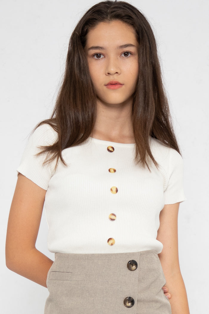 Noelle Ribbed Button Down Top in White - Three One Duo