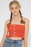 Daisy Floral Ruffle Tube Top in Red - Three One Duo