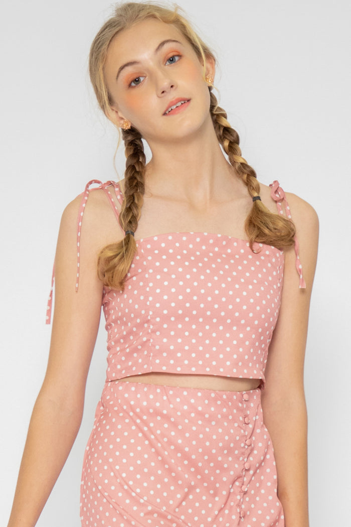 Nyla Polka Dot Tie Top - Three One Duo