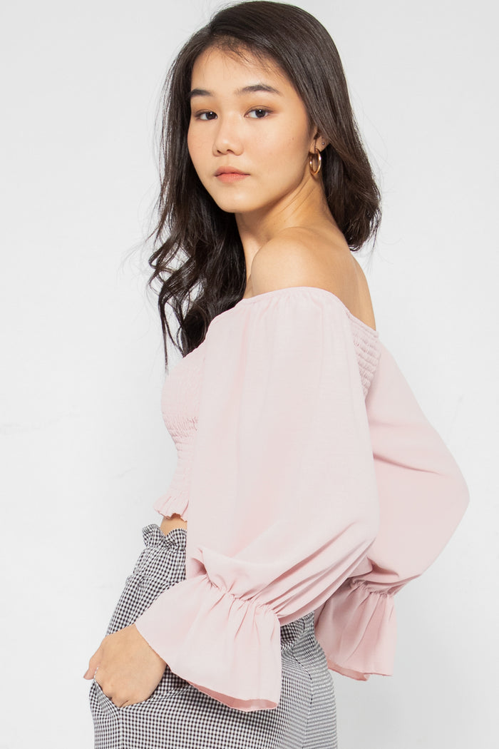 Estella Smocked Bell Sleeve Top in Pink - Three One Duo