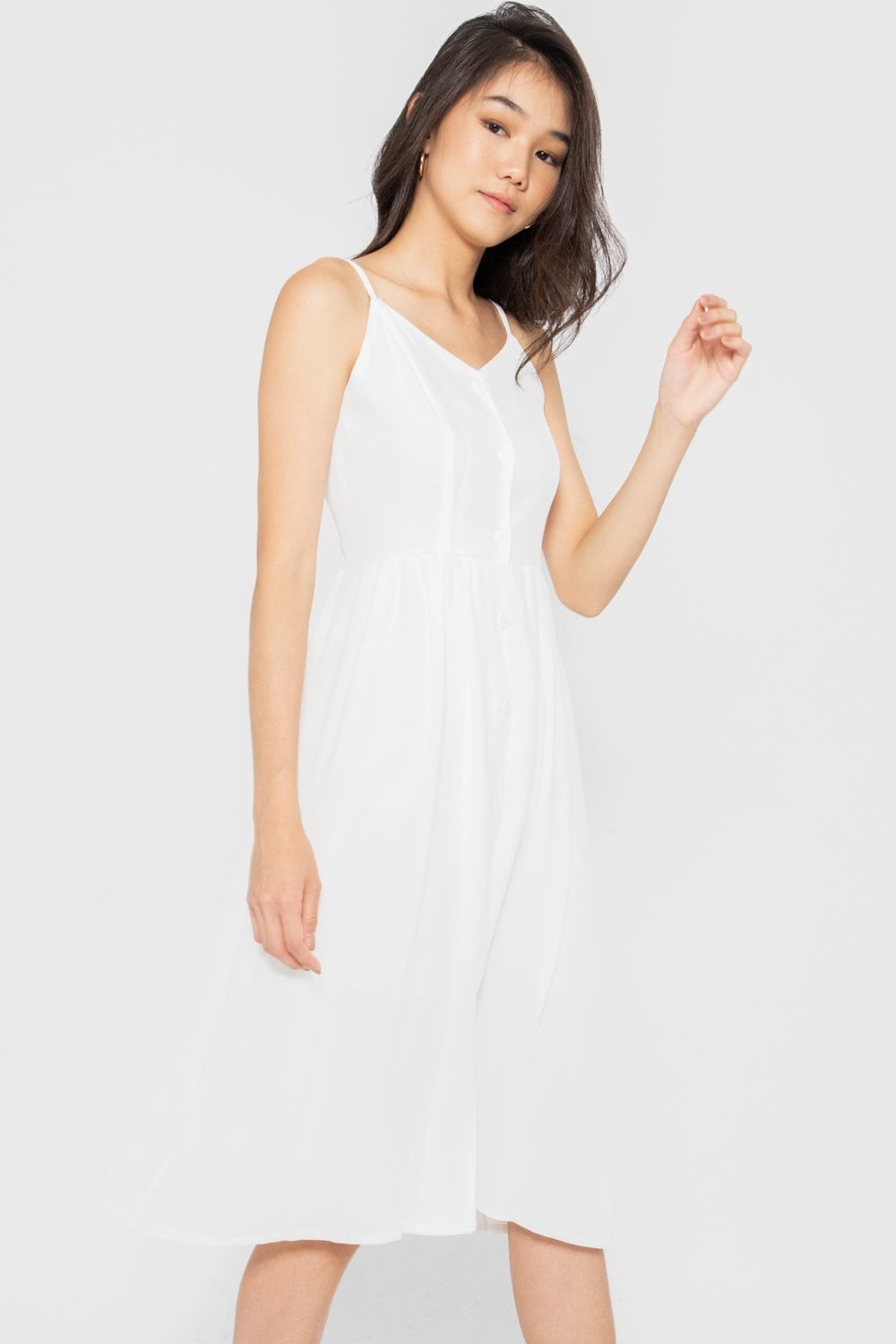 Allison Button Down Midi Dress in White - Three One Duo