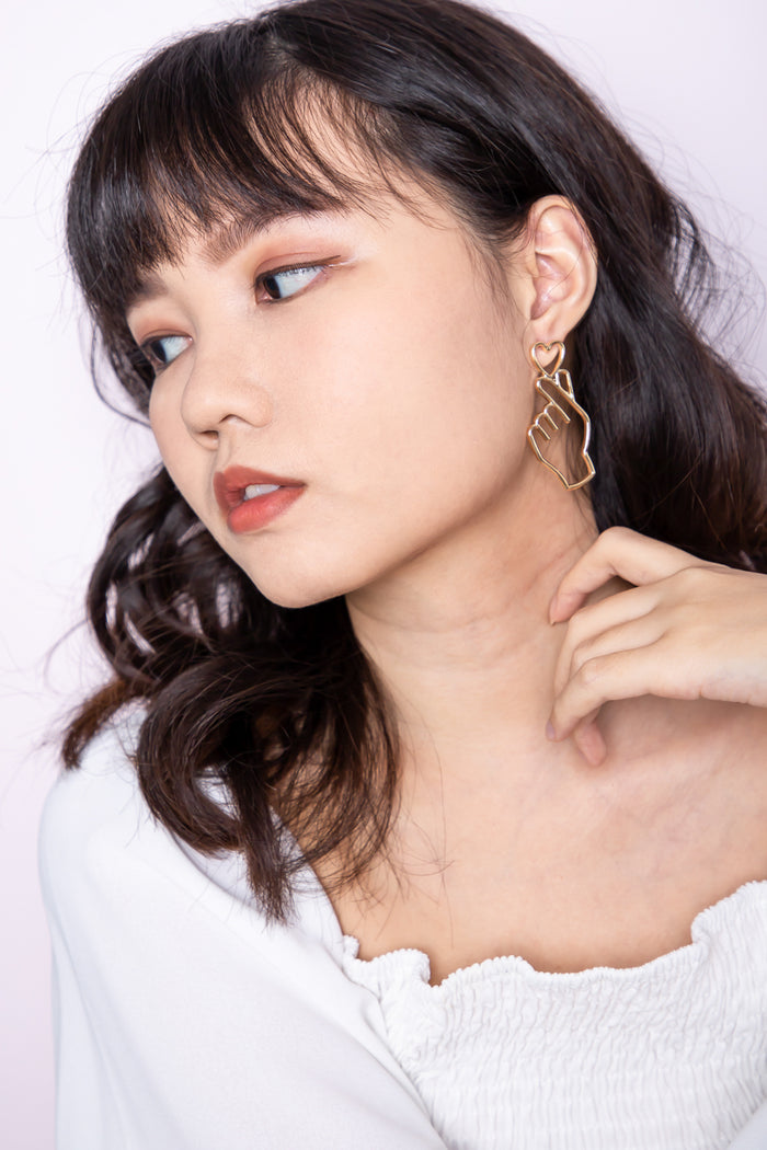 Saranghaeyo Heart Earring in Gold - Three One Duo