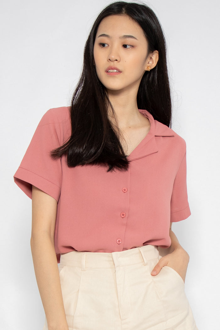 Rylee Short Sleeve Button Blouse in Rose - Three One Duo