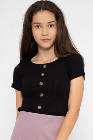 Noelle Ribbed Button Down Top in Black - Three One Duo