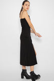 Vivienne Self Tie Slit Maxi Dress in Black - Three One Duo