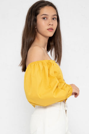 Alexa Bubble Long Sleeve Top in Yellow - Three One Duo