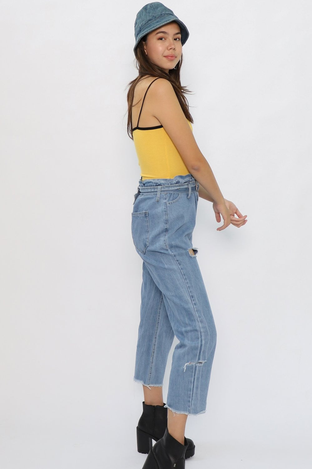 Addison Gathered Waist Jeans in Mid Blue Denim - Three One Duo