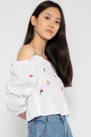 *Restocked* Delilah Off-Shoulder Top in White - Three One Duo