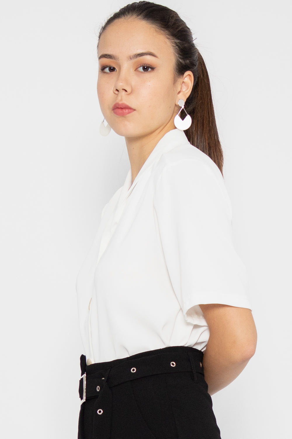 Taylor V Neck Button Blouse in White - Three One Duo