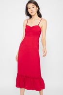 Lindsey Button Ruffle Dress in Red - Three One Duo