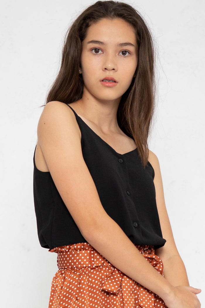 Nellie Button Down Cami Top in Black - Three One Duo