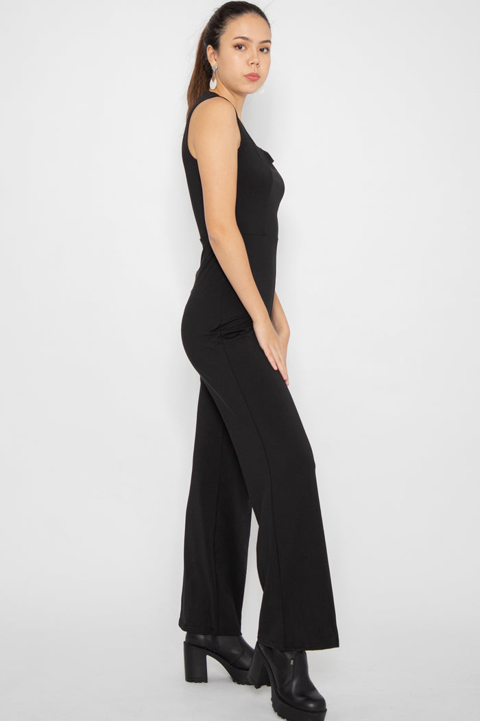 Sloane Fitted Jumpsuit in Black - Three One Duo