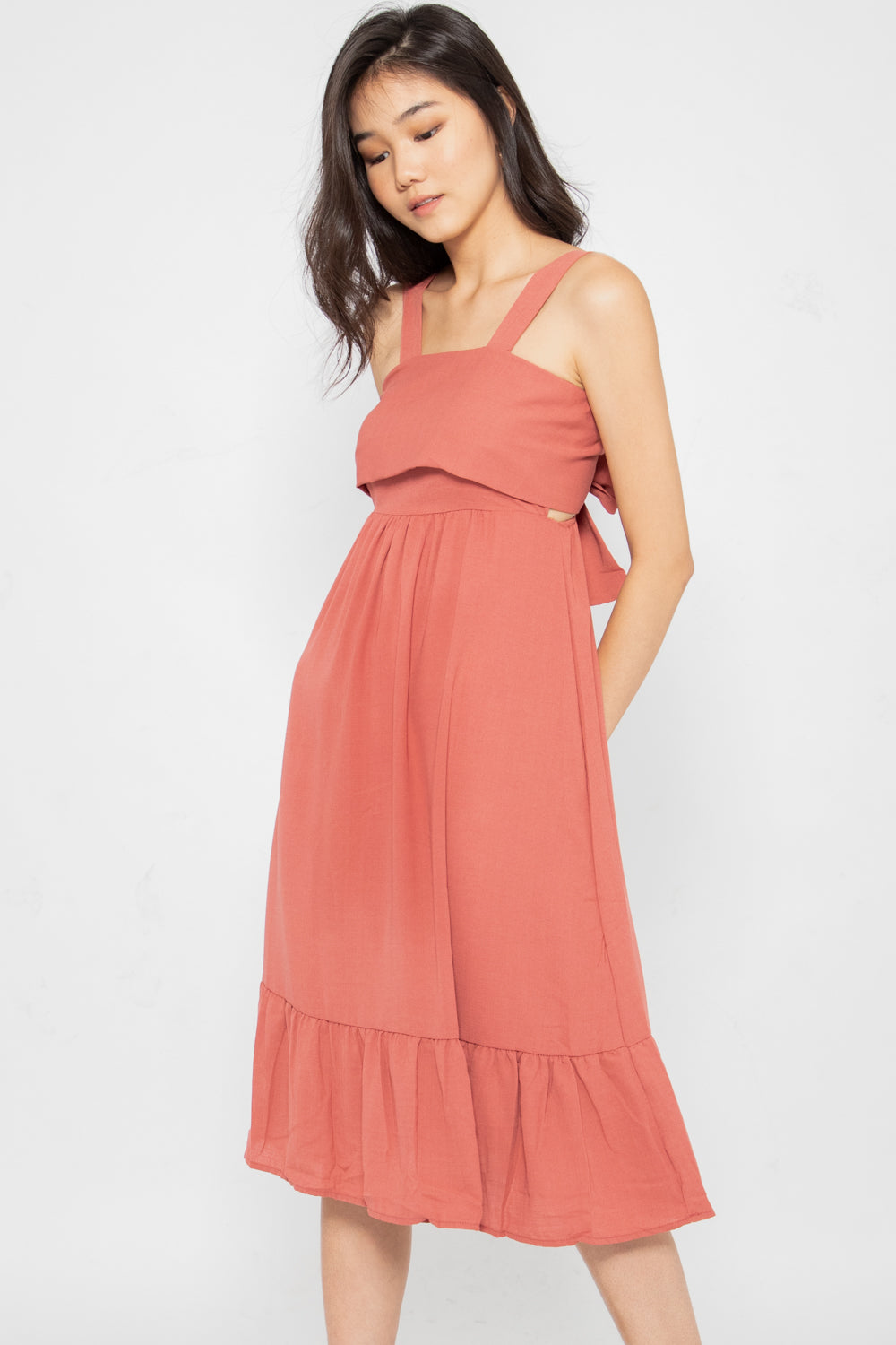 Kyleigh Tie Back Ruffle Dress in Rose - Three One Duo