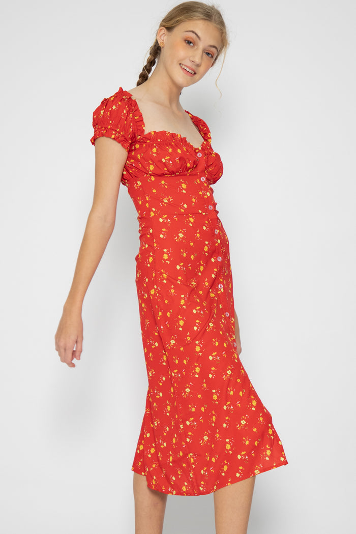 Gabriella Floral Ruffle Midi Dress - Three One Duo
