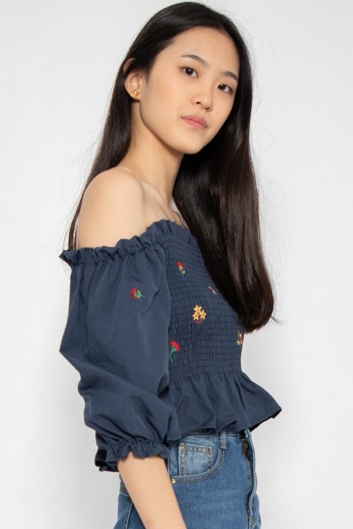 *Restocked* Delilah Off-Shoulder Top in Navy - Three One Duo