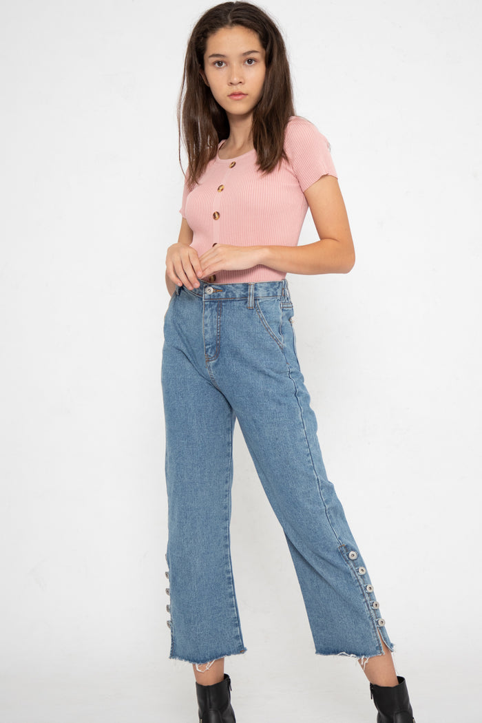 Kara Open Button Slit Jeans - Three One Duo