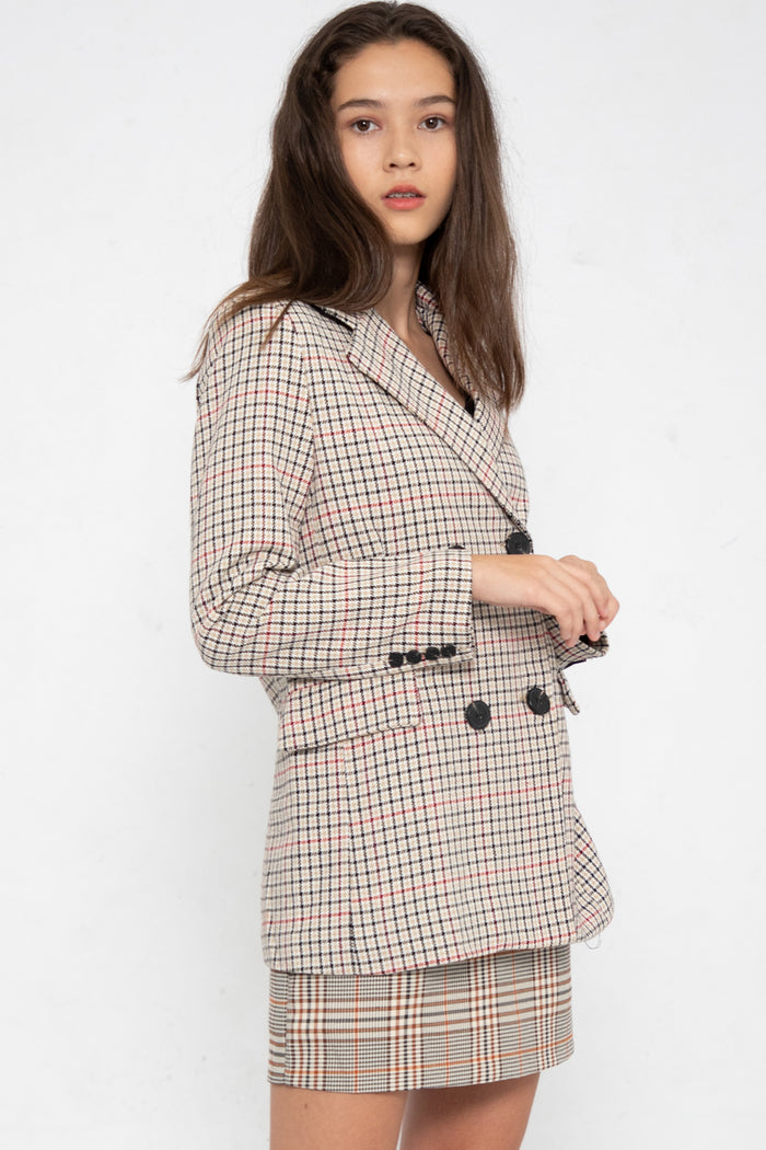 Brynn Checkered Blazer - Three One Duo