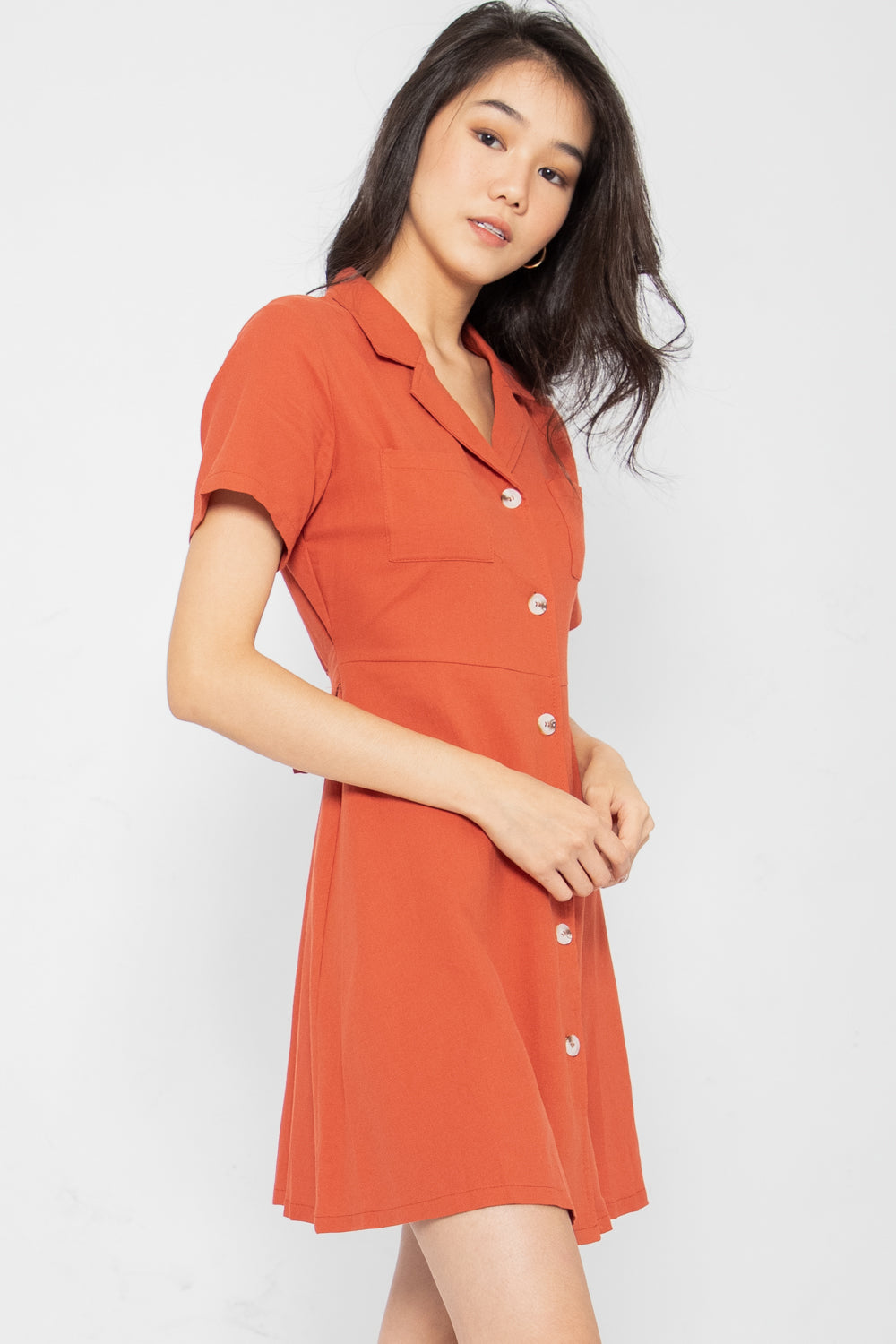 Maisie Button Down Collared Dress in Rust - Three One Duo