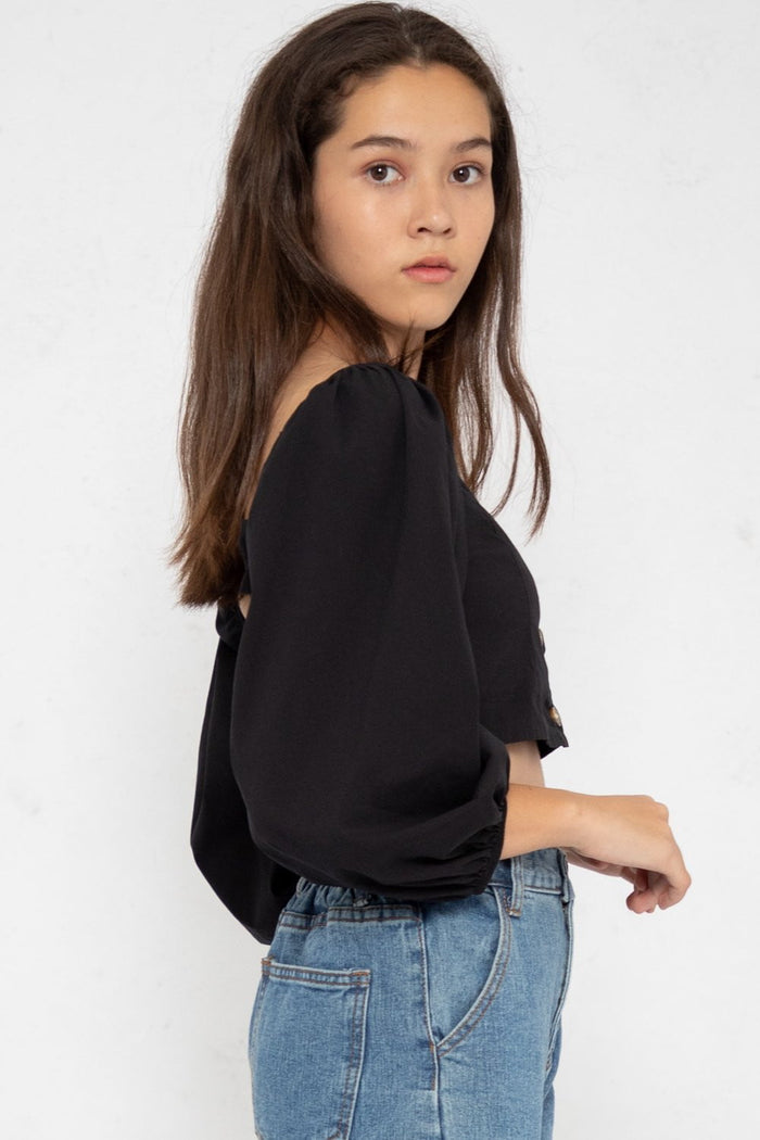 Alexa Bubble Long Sleeve Top in Black - Three One Duo