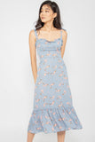 Bella Self Tie Floral Ruffle Dress in Slate Blue - Three One Duo