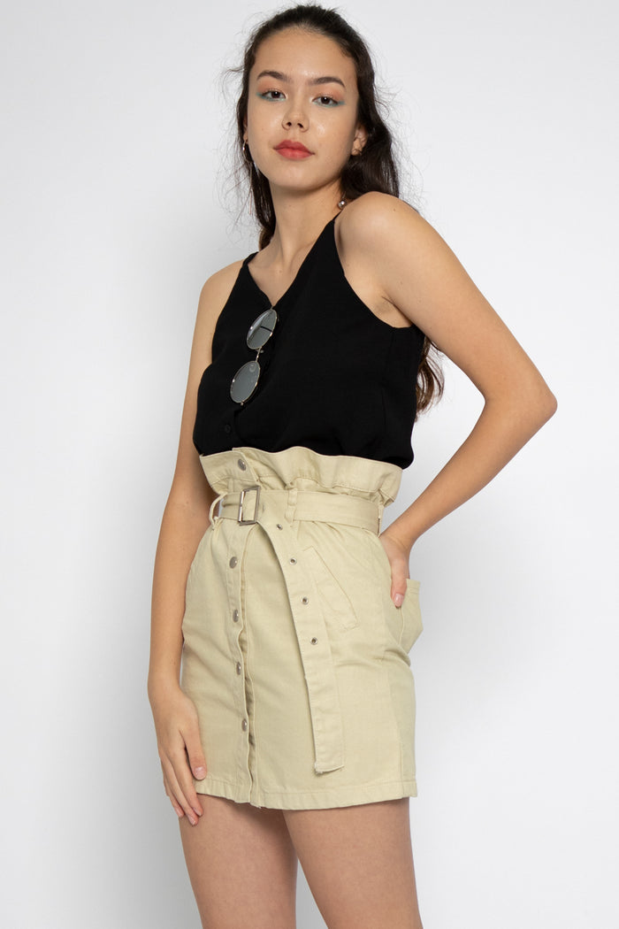 Hazel Button Down Dungaree in Sand - Three One Duo