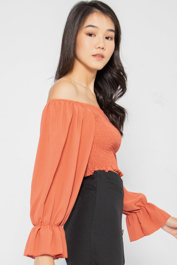Estella Smocked Bell Sleeve Top in Rust - Three One Duo