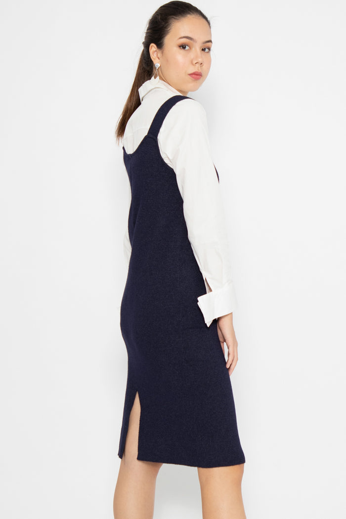 Madison Basic Knit Midi Dress in Navy - Three One Duo