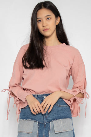 Leia Ribbon Long Sleeve Top in Pink - Three One Duo
