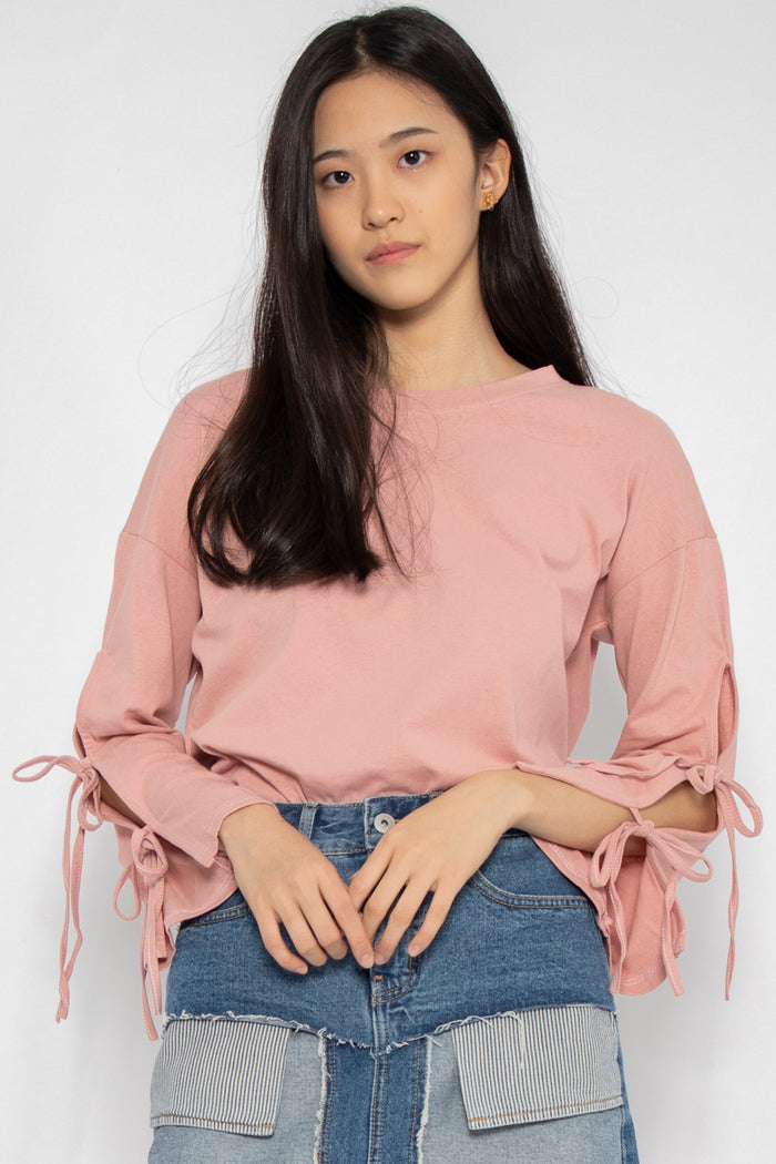 Leia Ribbon Long Sleeve Top - Three One Duo