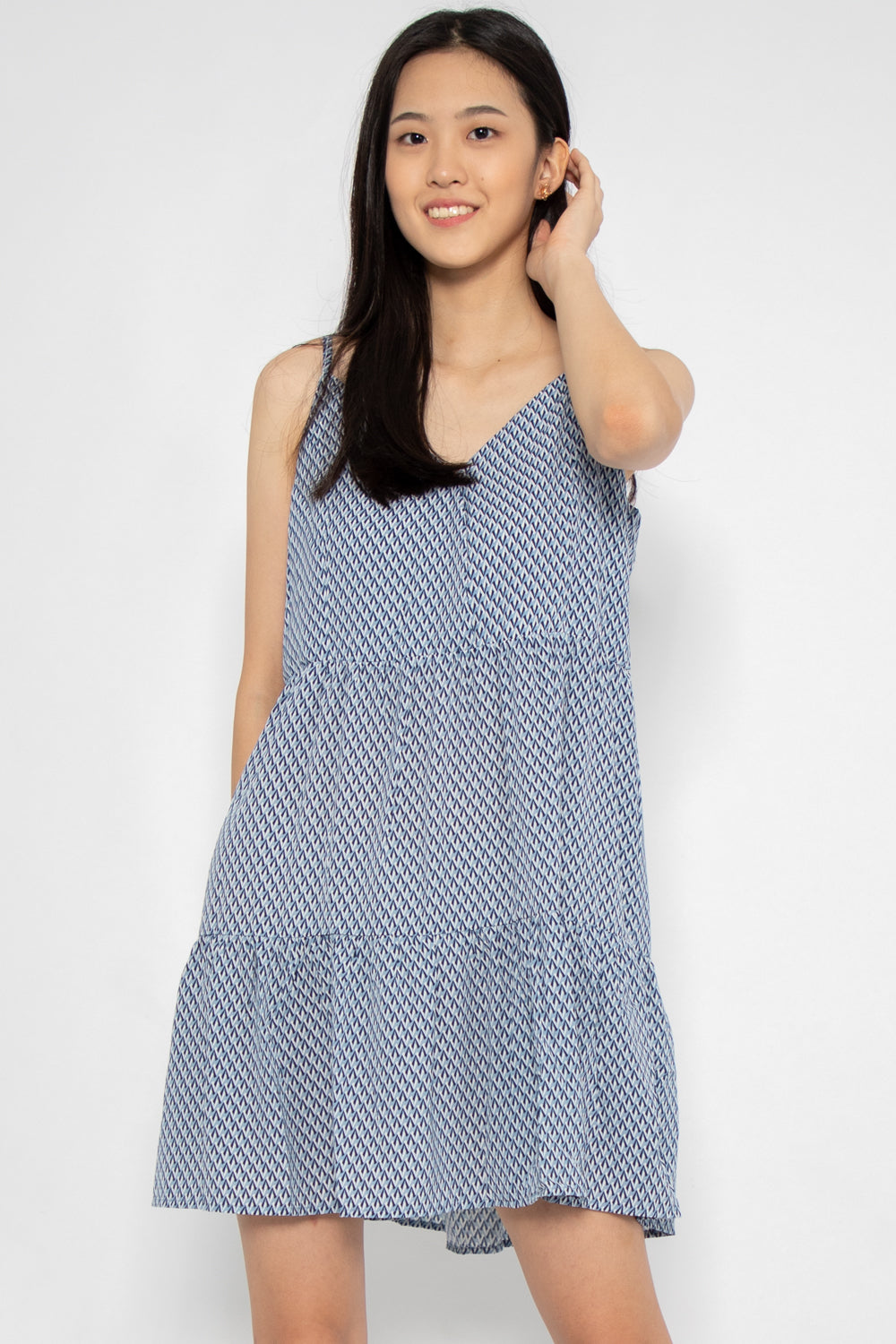Evelyn Printed Babydoll Swing Dress in Blue Aztech - Three One Duo