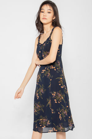 *Restocked* Blakely Floral Slit Midi Dress - Three One Duo
