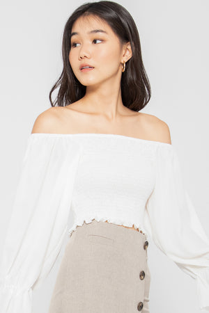 Estella Smocked Bell Sleeve Top in White - Three One Duo