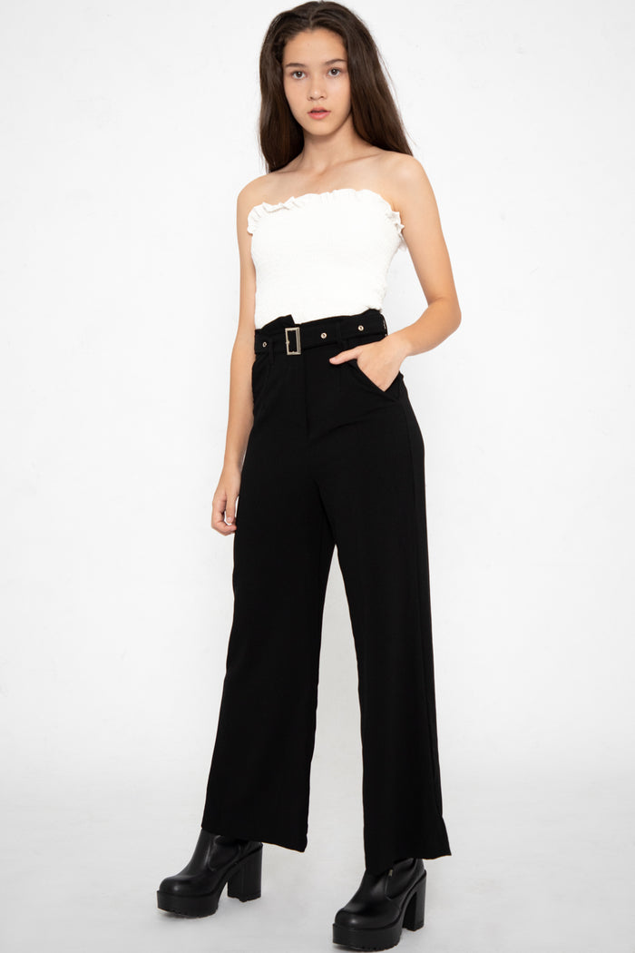 Ryleigh Belted Long Pants in Black - Three One Duo