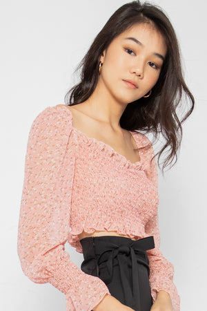 Edith Floral Ruched Bell-Sleeve Top - Three One Duo